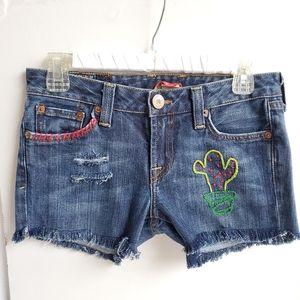 DIY Distressed Cactus Blue Denim Shorts Sz 4